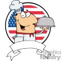 Male Chef Serving Food In A Sliver Covered Platter In Front Of Flag Of USA