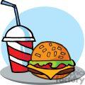 Fast Food Hamburger And A Soda