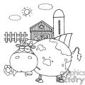 cartoon character cow different color bw in front of country farm gif, png, jpg, eps