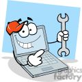 laptop cartoon character holding a wrench