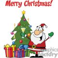 santa clause holding a champaign glass in the front of a christmas tree with presents merry christmas gif, png, jpg, eps