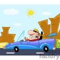 Man driving a blue race car in the desert
