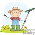 Farmer boy with a rake in grass with flowers