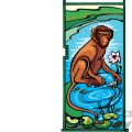 monkey sitting by some water gif, png, jpg, eps, svg, pdf