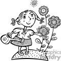 small girl watering her flowers