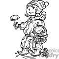 girl collecting mushrooms