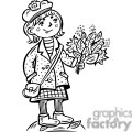 teenage girl holding a bouquet of leafs