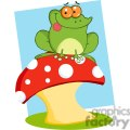 Cartoon-Tree-Frog-On-A-Toadstool-Or-Mushroom-with-blue-background