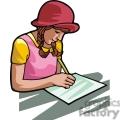 Cartoon student doing an assignment