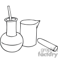 Black and white outline of chemistry beakers