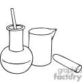 Black and white outline of chemistry beakers