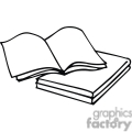 Black and white outline of an open book with blank pages