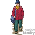 Cartoon boy walking to school with his messenger bag