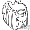 Black and white outline of a backpack with padded straps