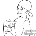 black and white outline of boy showing his drawing  gif, png, jpg, eps, svg, pdf