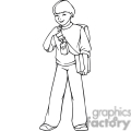 Black and white outline of a boy with his backpack