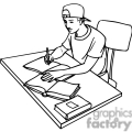 black and white outline of a student studying with books