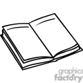 black and white outline of an open book