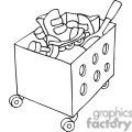 black and white outline of a toy box with toys