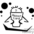 Black and white outline of a little boy reading his report card