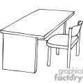 black and white outline of a chair and desk gif, png, jpg, eps, svg, pdf