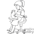 Black and white outline of a little girl doing pottery