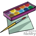 cartoon paintbrush and paints