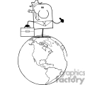 black and white outline of a man standing on earth