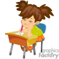 small girl sitting at her school desk