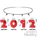 2097-2012-New-Year-Numbers-Cartoon-Characters-With-Speech-Bubble