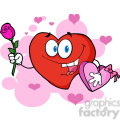 102558-Cartoon-Clipart-Sweet-Red-Heart-Man-Carrying-Chocolates-And-A-Rose