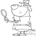 blac-white-investigator-cartoon-hound  gif, png, jpg, eps, svg, pdf