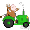 cow-character-on-green-tractor