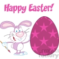 Royalty-Free-RF-Copyright-Safe-Happy-Easter-Text-Above-A-Rabbit-Painting-Easter-Egg-With-Stars