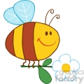 4715-Royalty-Free-RF-Copyright-Safe-Happy-Bee-Fflying-With-Flower