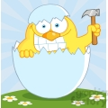 4760-Royalty-Free-RF-Copyright-Safe-Yellow-Chick-With-A-Big-Toothy-Grin-Peeking-Out-Of-An-Egg-Shell-With-Hammer