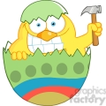 Royalty-Free-RF-Copyright-Safe-Happy-Chick-With-A-Big-Toothy-Grin-Peeking-Out-Of-An-Easter-Egg-With-Hammer