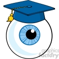 12822 RF Clipart Illustration Eye Ball Cartoon Character With Graduate Cap
