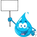 12862 RF Clipart Illustration Happy Water Drop Character Holding Up A Blank Sign
