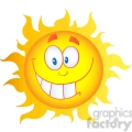 12906 RF Clipart Illustration Happy Sun Cartoon Character