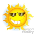 12900 RF Clipart Illustration Smiling Sun Cartoon Character With Sunglasses