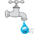 12877 RF Clipart Illustration Water Faucet With Smiling Water Drop Cartoon Character