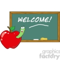 4954-Clipart-Illustration-of-Happy-Student-Worm-In-Red-Apple-In-Front-Of-School-Chalk-Board