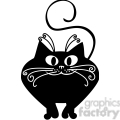vector clip art illustration of black cat 028