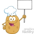 5180-Potato-Chef-Holding-Up-A-Blank-Sign-Royalty-Free-RF-Clipart-Image