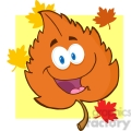 5145-happy-orange-leaf-with-umbrella-royalty-free-rf-clipart-image