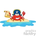 pirate crab holding a treasure map on island gif, png, jpg, eps, svg, pdf