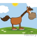 Horse Cartoon Mascot Character On A Meadow