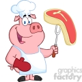 Happy-Pig-Chef-Holding-A-Fork-With-Raw-Steak