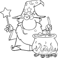 Clipart of Funny Wizard Waving With Magic Wand And Preparing A Potion